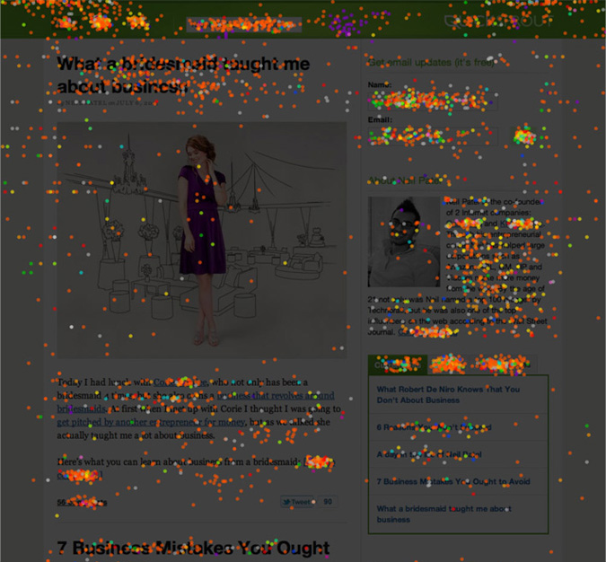 Click density heatmap by CrazyEgg